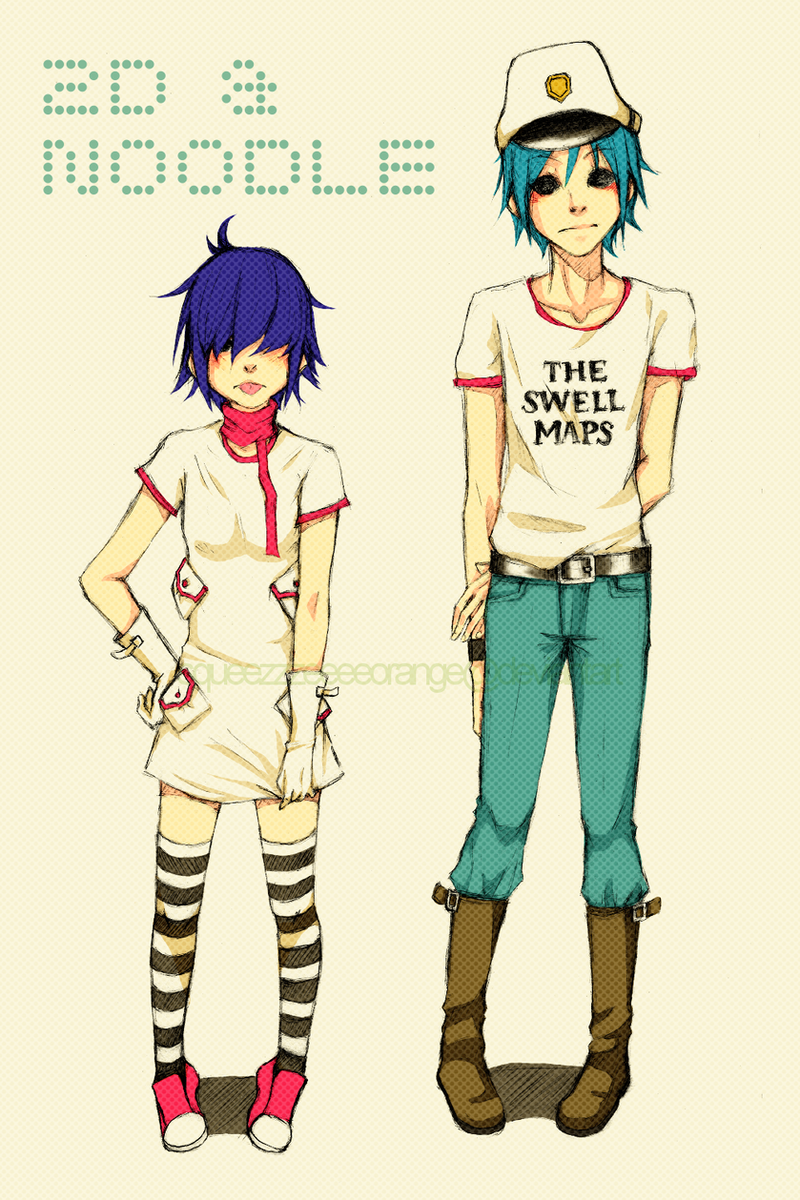 Gorillaz: 2D and Noodle by SqueezzzeeeeOrange