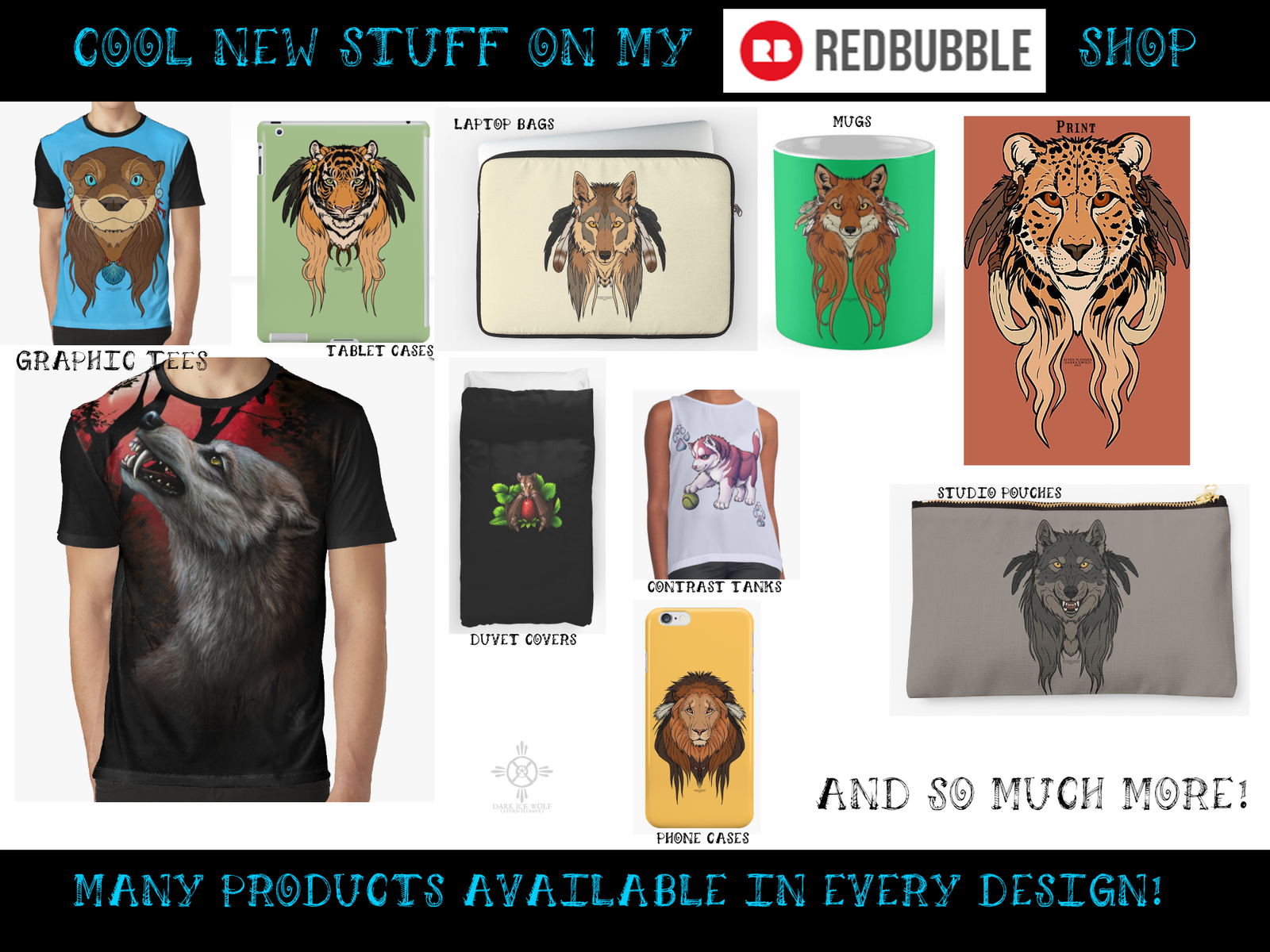 REDBUBBLE - New Products! by DarkIceWolf