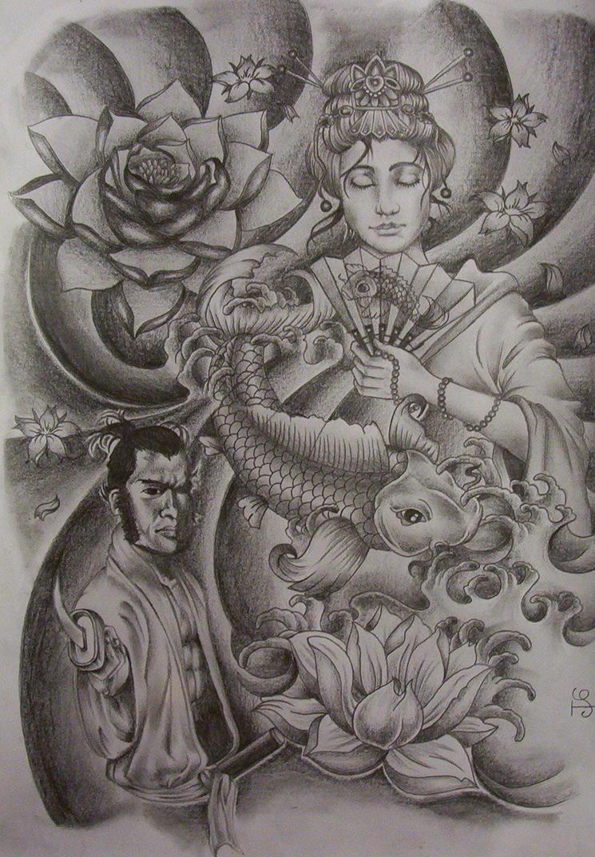 geisha samurai tattoo design by tattoosuzette on deviantart. Black Bedroom Furniture Sets. Home Design Ideas
