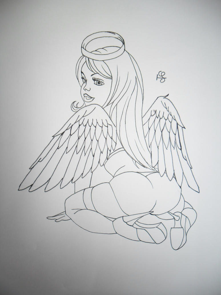 sexual nude angel tattoo
