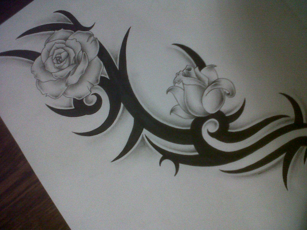 tribal with roses tattoo design by tattoosuzette