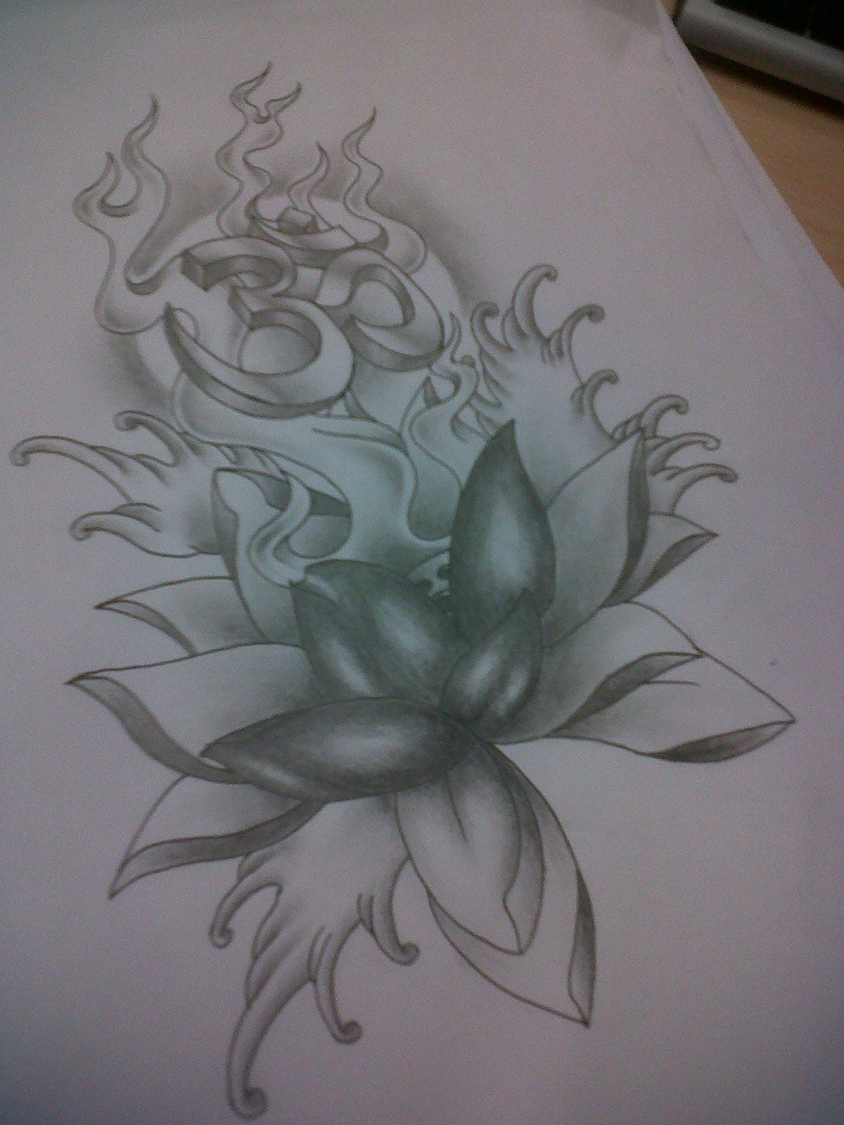 lotus tattoo design with ohm by tattoosuzette on deviantart. Black Bedroom Furniture Sets. Home Design Ideas