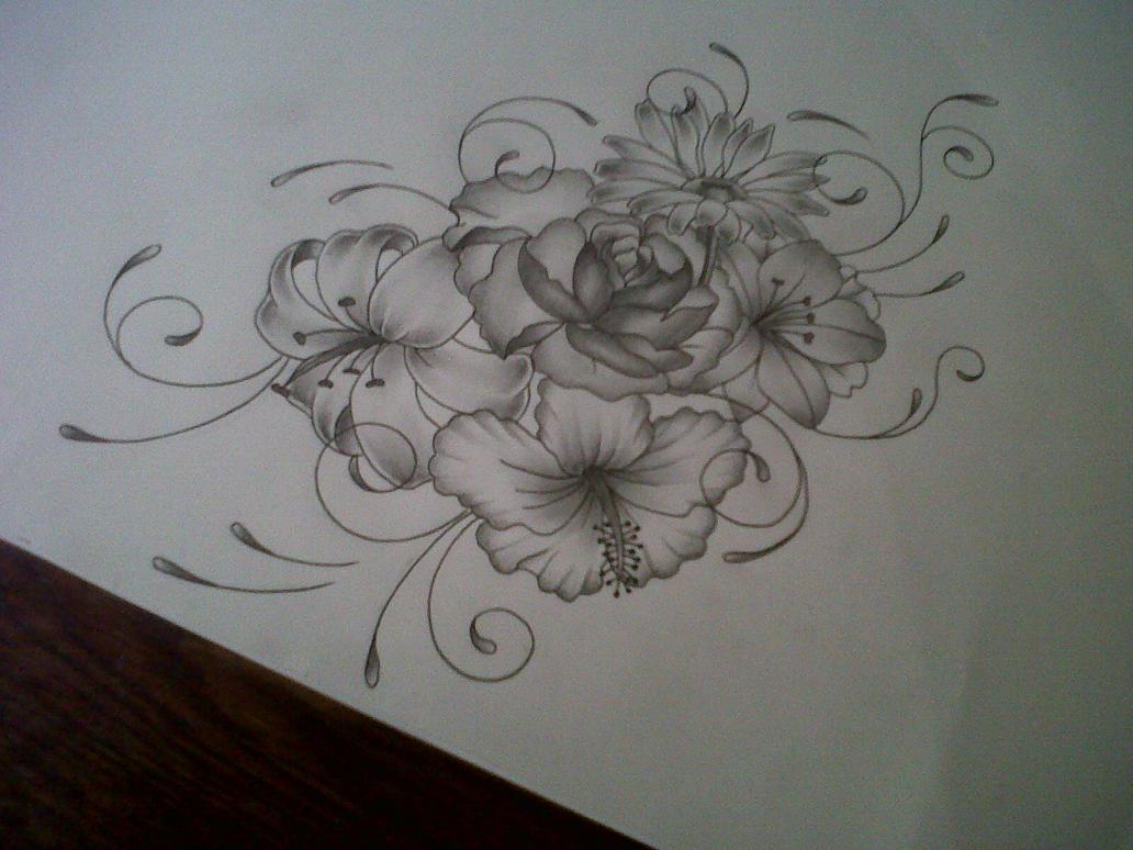 flower tattoo design by tattoosuzette