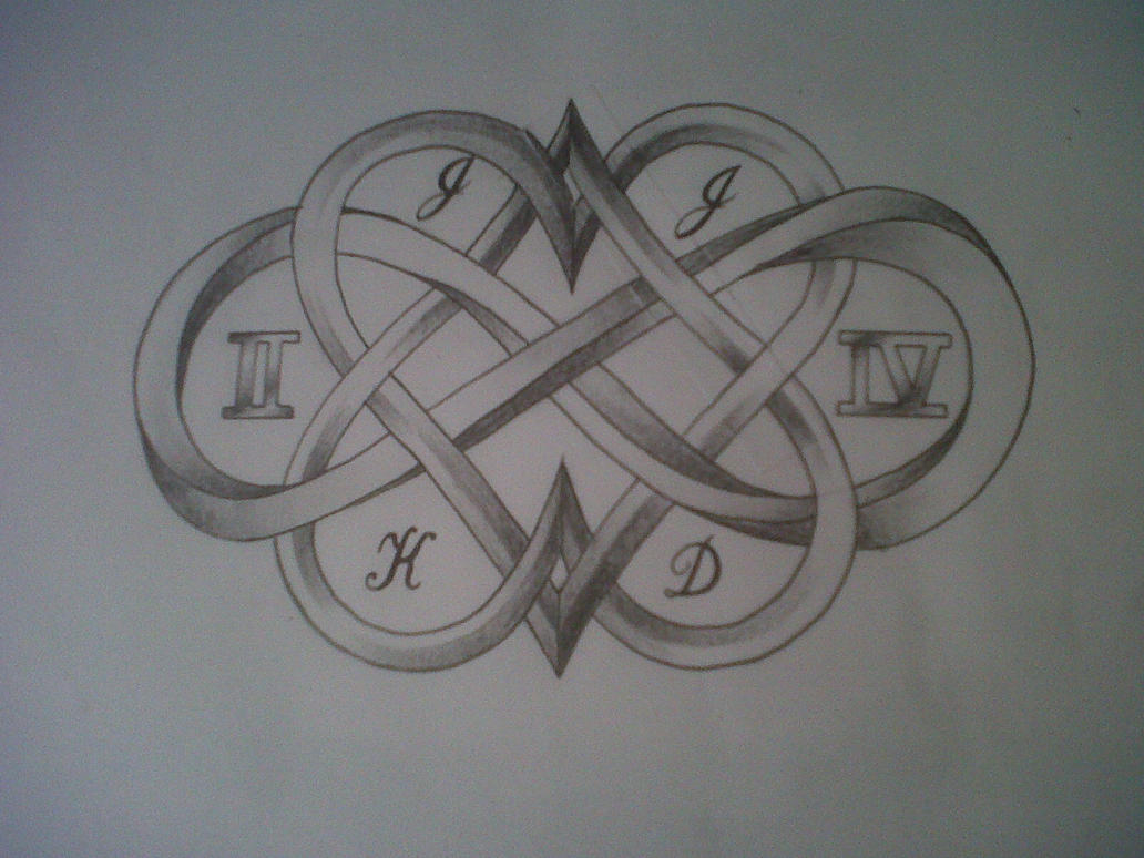Hearts and infinity sign tattoo design by tattoosuzette