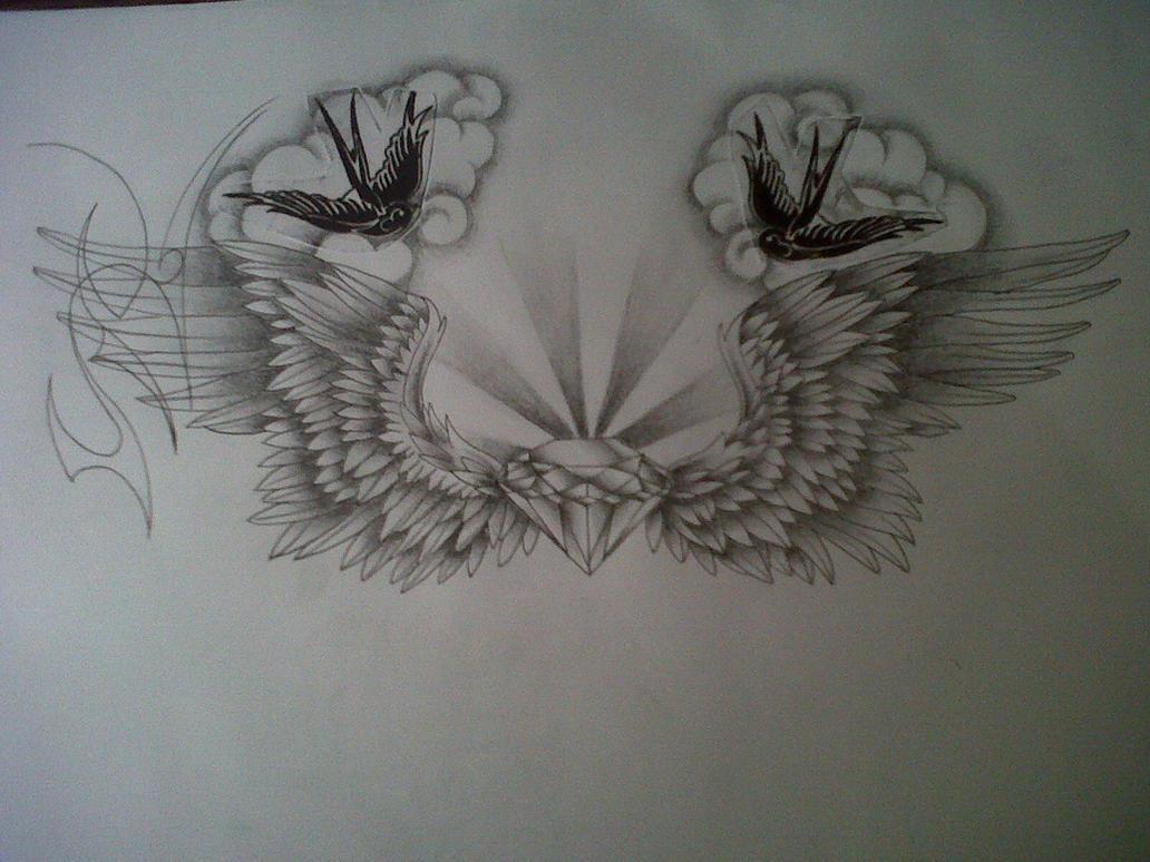 wings tattoo design by tattoosuzette on deviantart. Black Bedroom Furniture Sets. Home Design Ideas