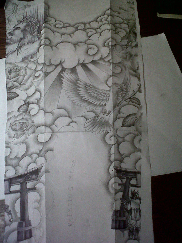 religious full sleeve tattoo design by tattoosuzette on deviantart. Black Bedroom Furniture Sets. Home Design Ideas
