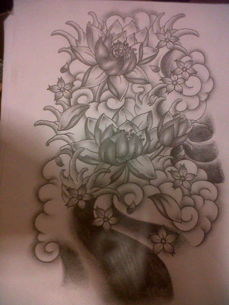 japanese flowers tattoo design by tattoosuzette on deviantart. Black Bedroom Furniture Sets. Home Design Ideas