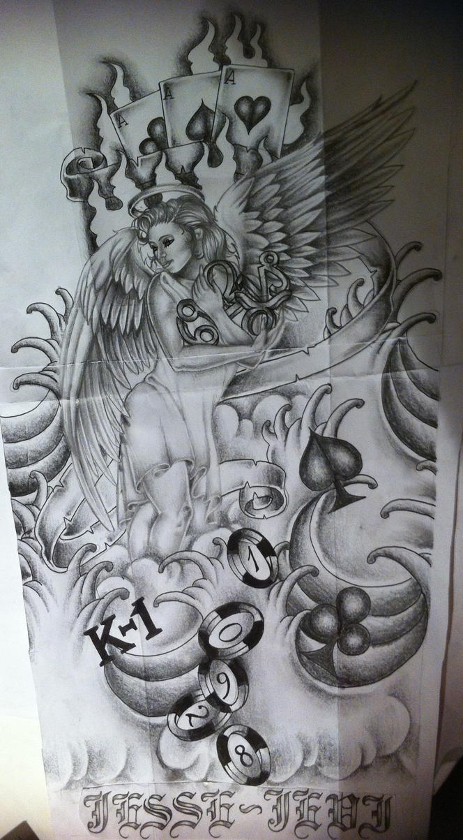 sleeve tattoo design with angel by tattoosuzette on deviantart. Black Bedroom Furniture Sets. Home Design Ideas