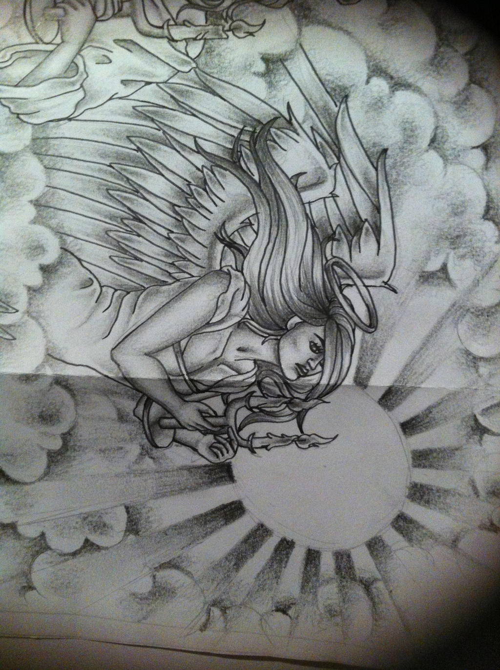 Angel tattoo design by tattoosuzette on deviantart for Angel in clouds tattoo