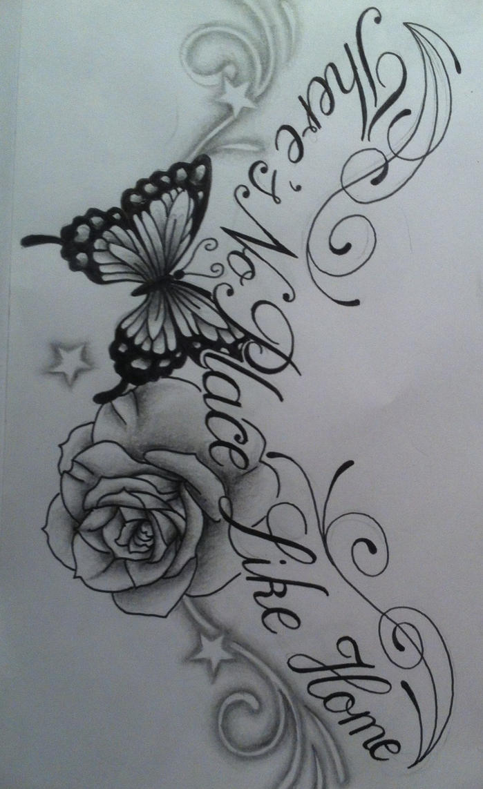 Butterfly Rose Chest Tattoo Design With Text By