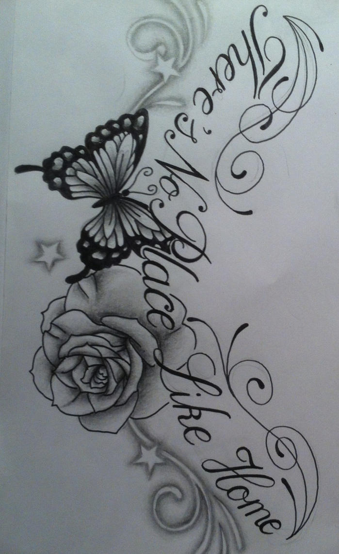 flower and butterfly tattoo design by tattoosuzette on deviantart. Black Bedroom Furniture Sets. Home Design Ideas