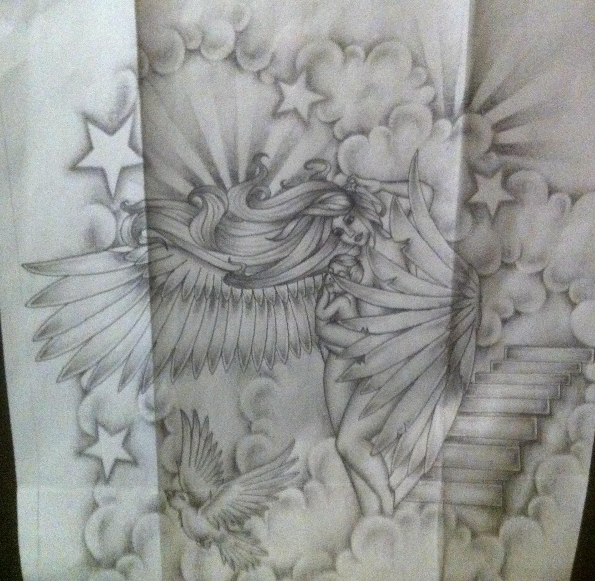 Angel tattoo sleeve design