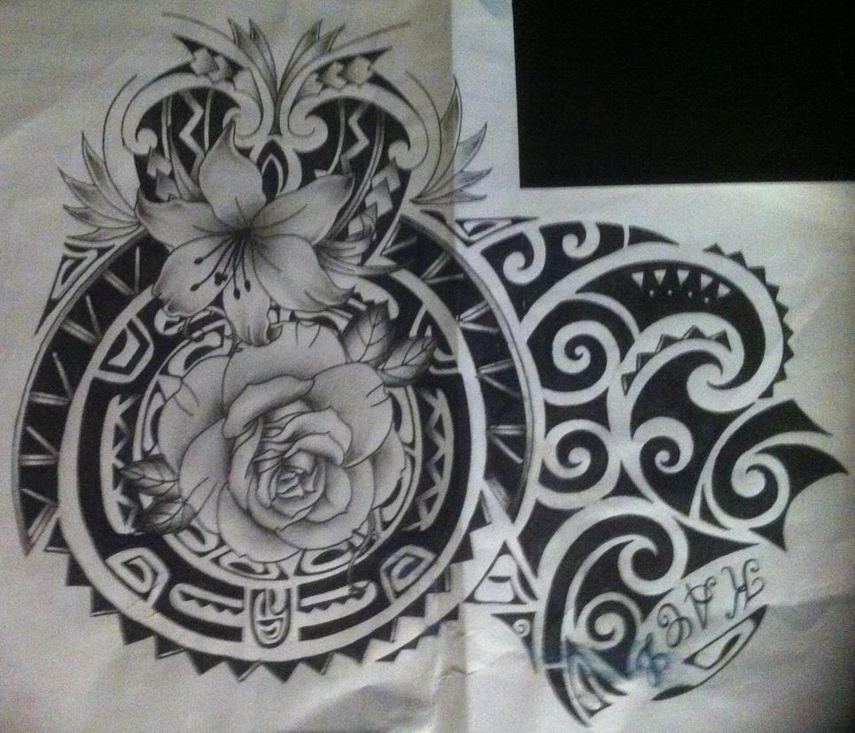 Maori Tattoo Designs Wallpaper: Maori With Flower Tattoo Design /polynesian By