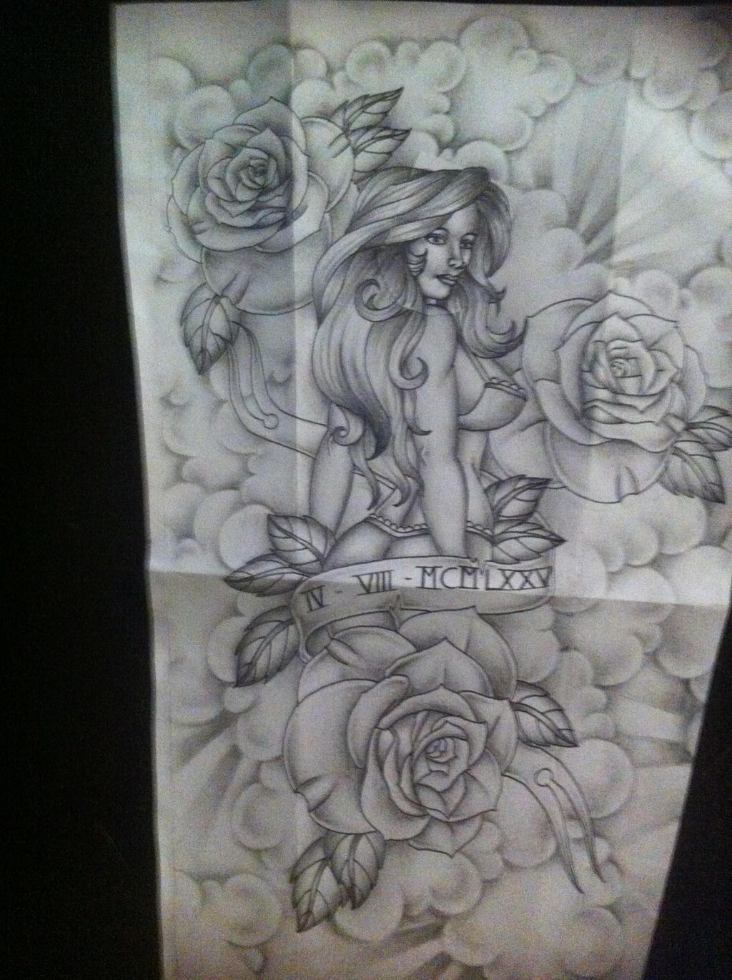 Pinup with roses full sleeve tattoo design by tattoosuzette on DeviantArt