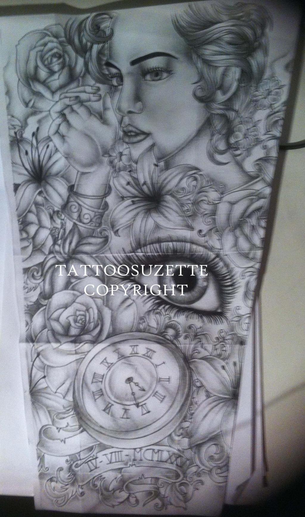 Flower full sleeve tattoo design by tattoosuzette on for How to design full sleeve tattoo