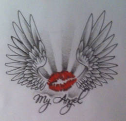 Lips Tattoo Design with angel wings