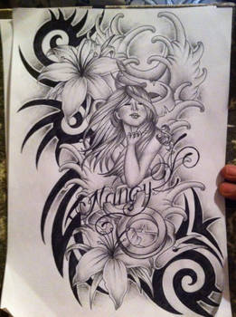 Lily tattoo design with tribal