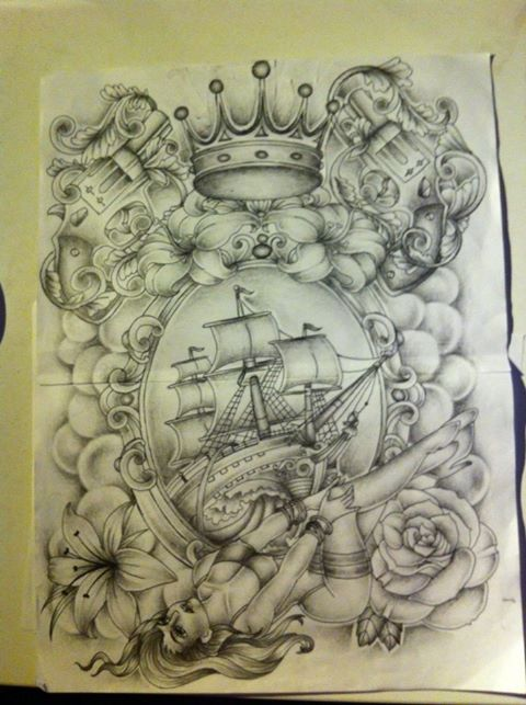 Old School Tattoo Design Boat With Pinup By Tattoosuzette