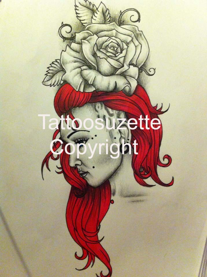 rose and pinup tattoo design by tattoosuzette on deviantart