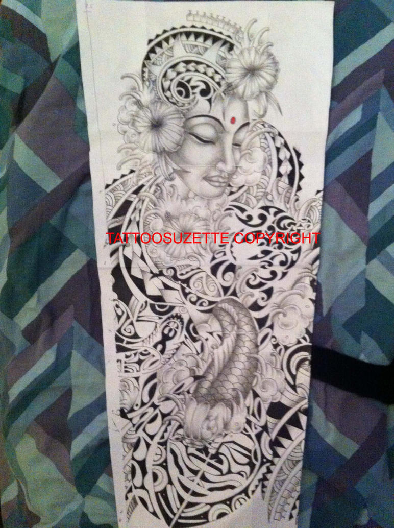 polynesian and maori mix full sleeve tattoo design by tattoosuzette on deviantart. Black Bedroom Furniture Sets. Home Design Ideas