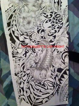 Polynesian koi tattoo design