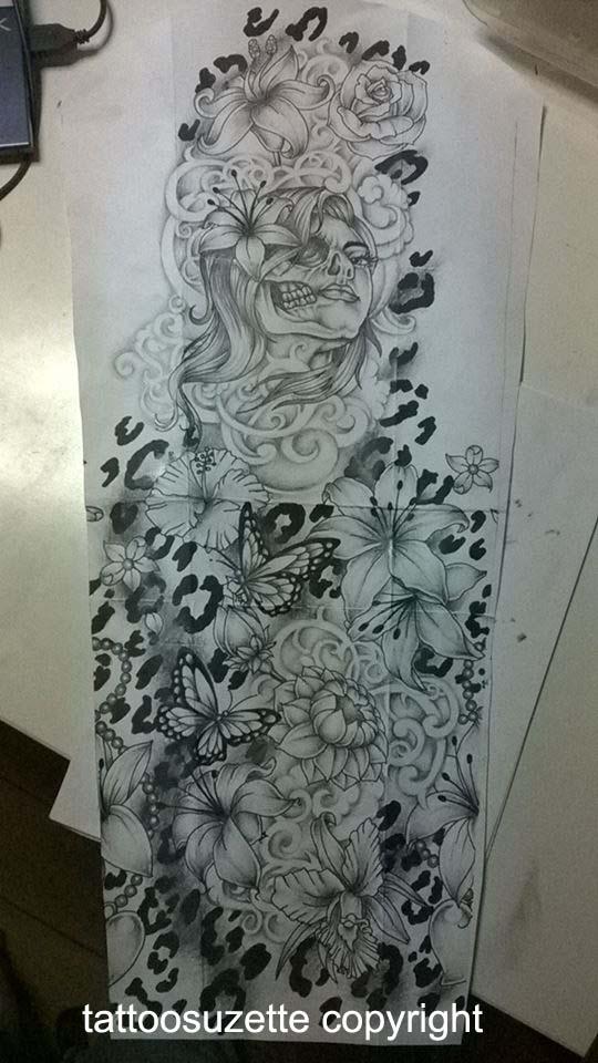 flower and leopard print tattoo full sleeve by tattoosuzette on deviantart. Black Bedroom Furniture Sets. Home Design Ideas