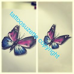 tatouage papillon 3d butterfly tattoo by tattoosuzette on deviantart. Black Bedroom Furniture Sets. Home Design Ideas