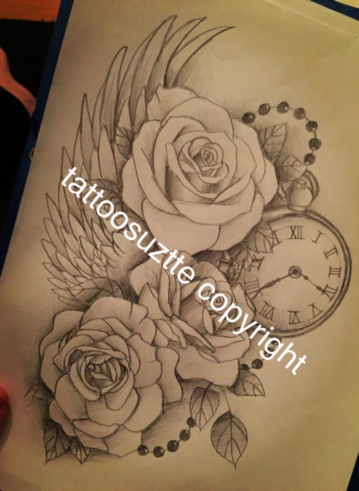 Rose Clock Tattoo Designs Drawing: Roses Clock Wing Tattoo Design By Tattoosuzette On DeviantArt