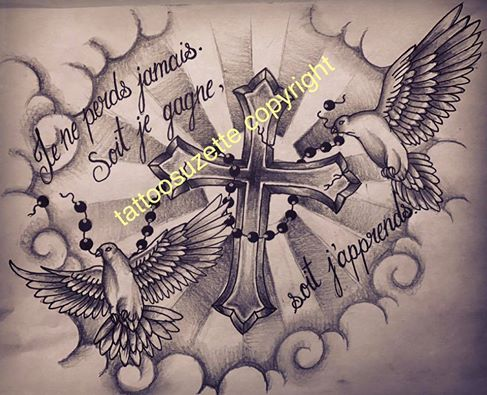 dove cross tattoo design by tattoosuzette on deviantart. Black Bedroom Furniture Sets. Home Design Ideas