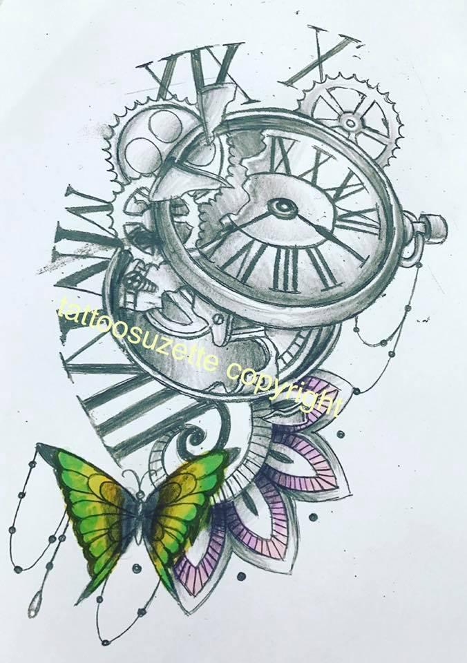 Clock butterfly mandala tattoo design by tattoosuzette on DeviantArt