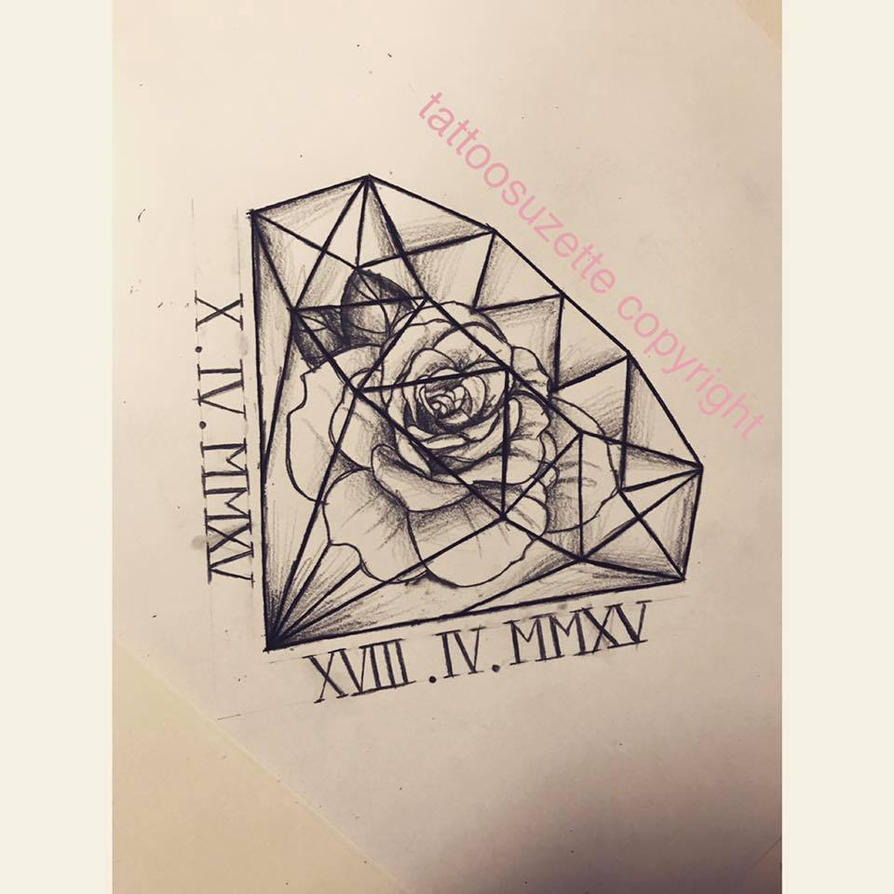 Tatouage rose diamant by tattoosuzette on deviantart - Tatouage diamant homme ...