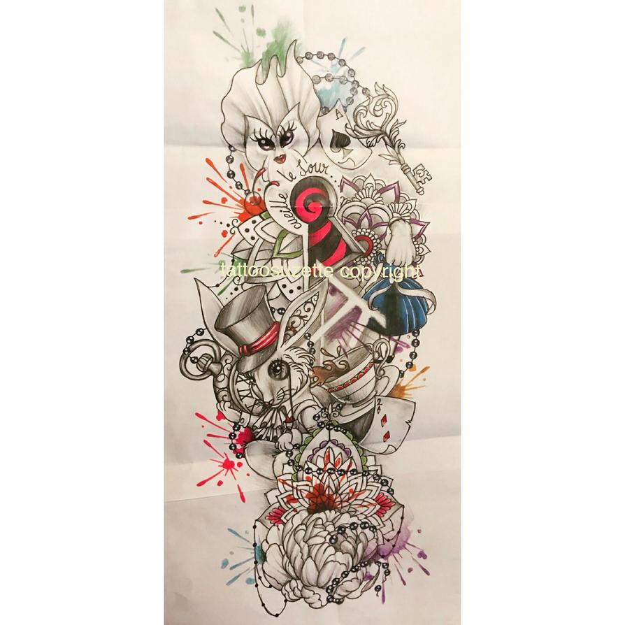 Chat Alice Au Pays Des Merveilles Tattoo