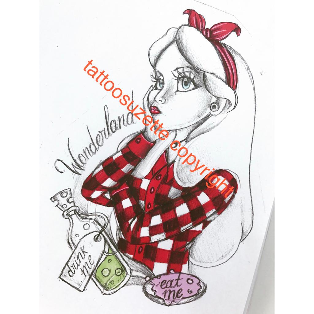 Alice au pays des merveilles tatouage by tattoosuzette on deviantart - Tatouage chat alice au pays des merveilles ...