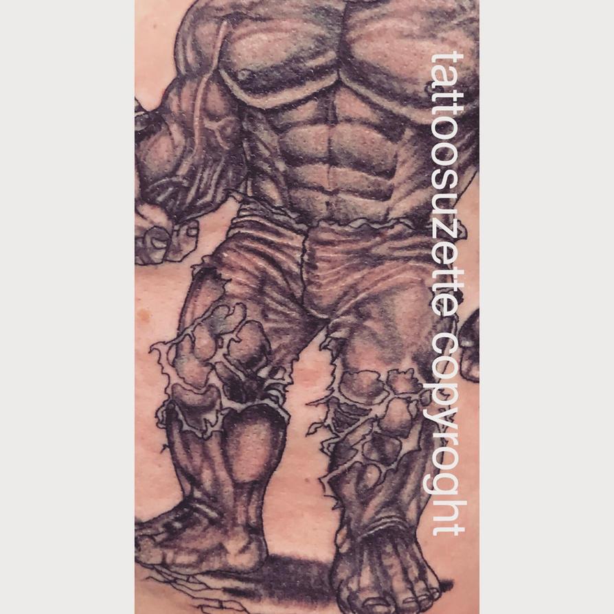 tatouage hulk by tattoosuzette