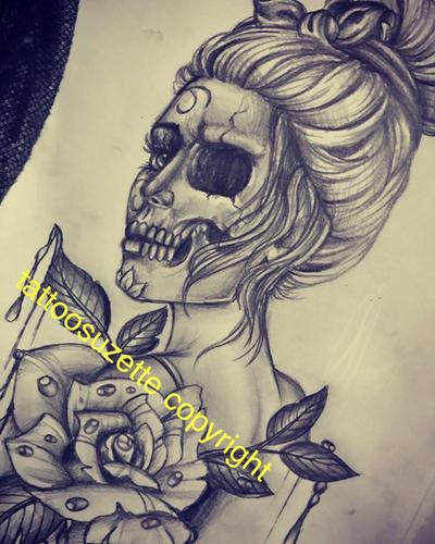 santa muerte skull tattoo design by tattoosuzette
