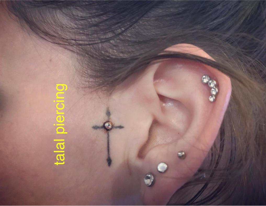 dermal anchor in tattoo by tattoosuzette