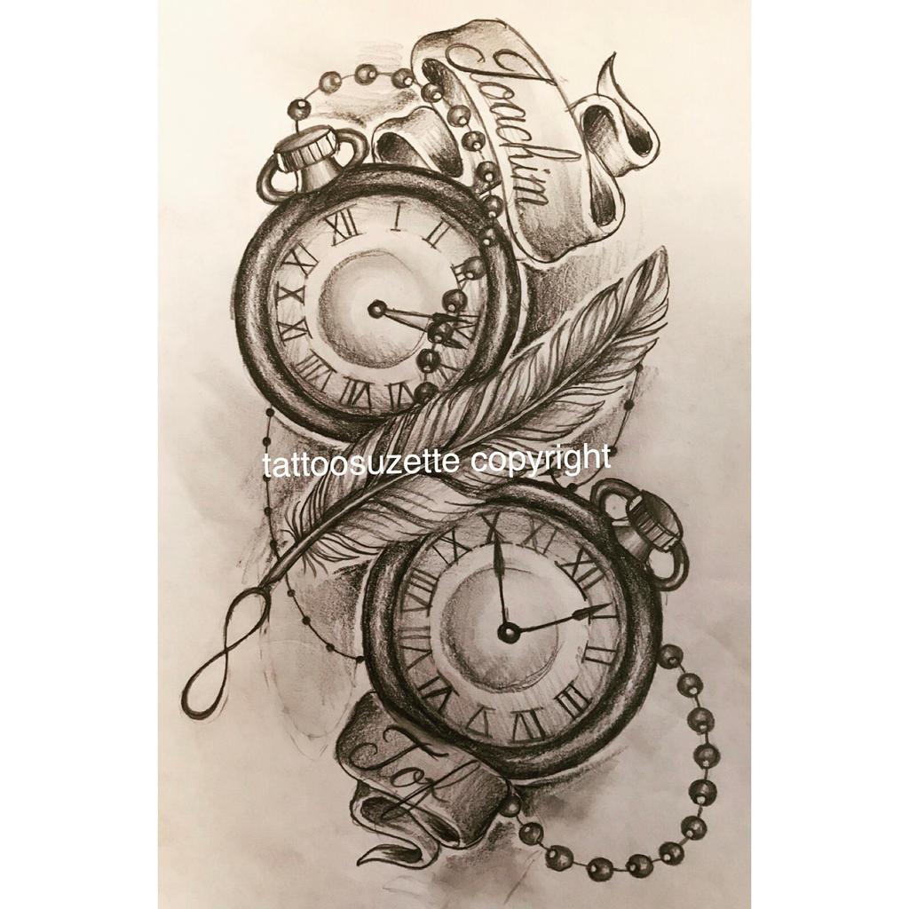pocketwatch feather tattoo design
