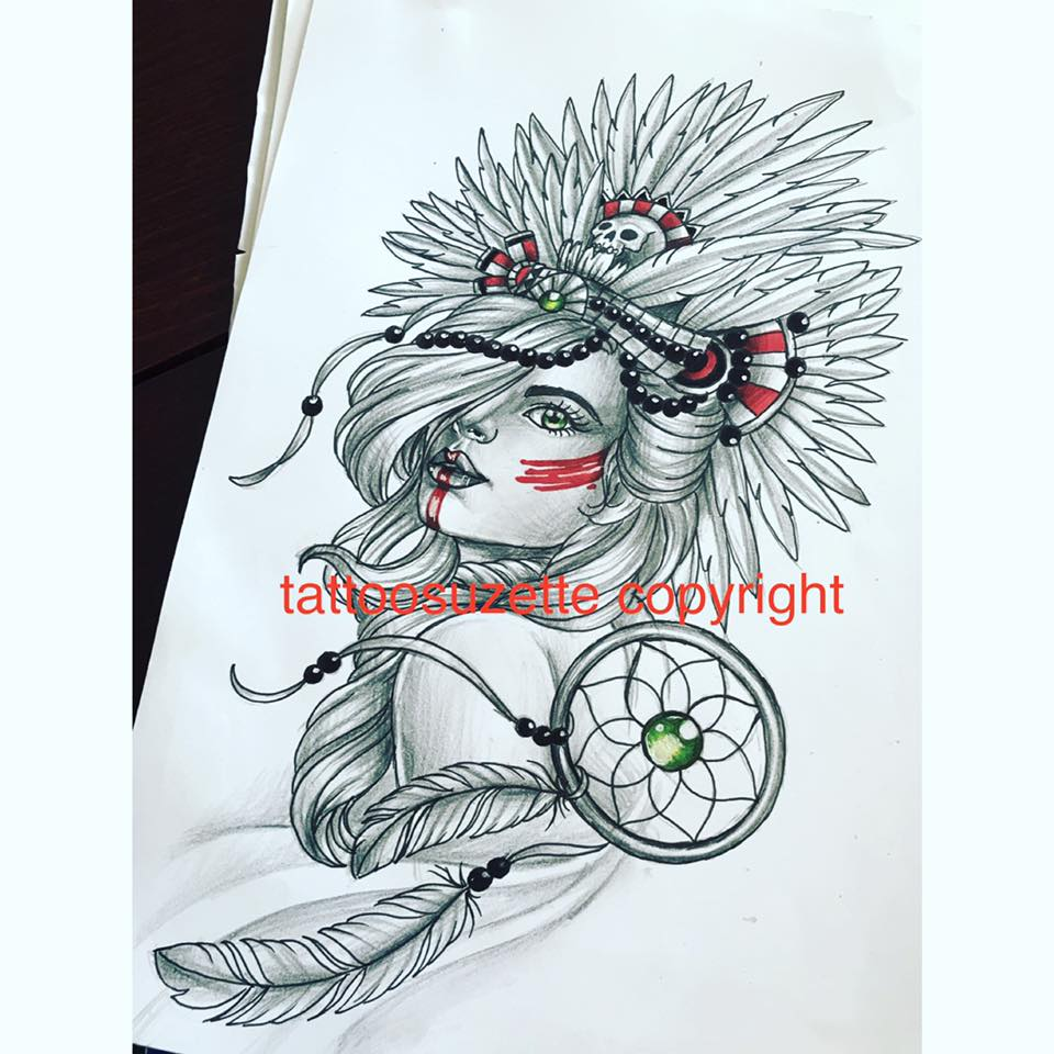 indian girl tattoo design dreamcatcher by tattoosuzette on deviantart. Black Bedroom Furniture Sets. Home Design Ideas
