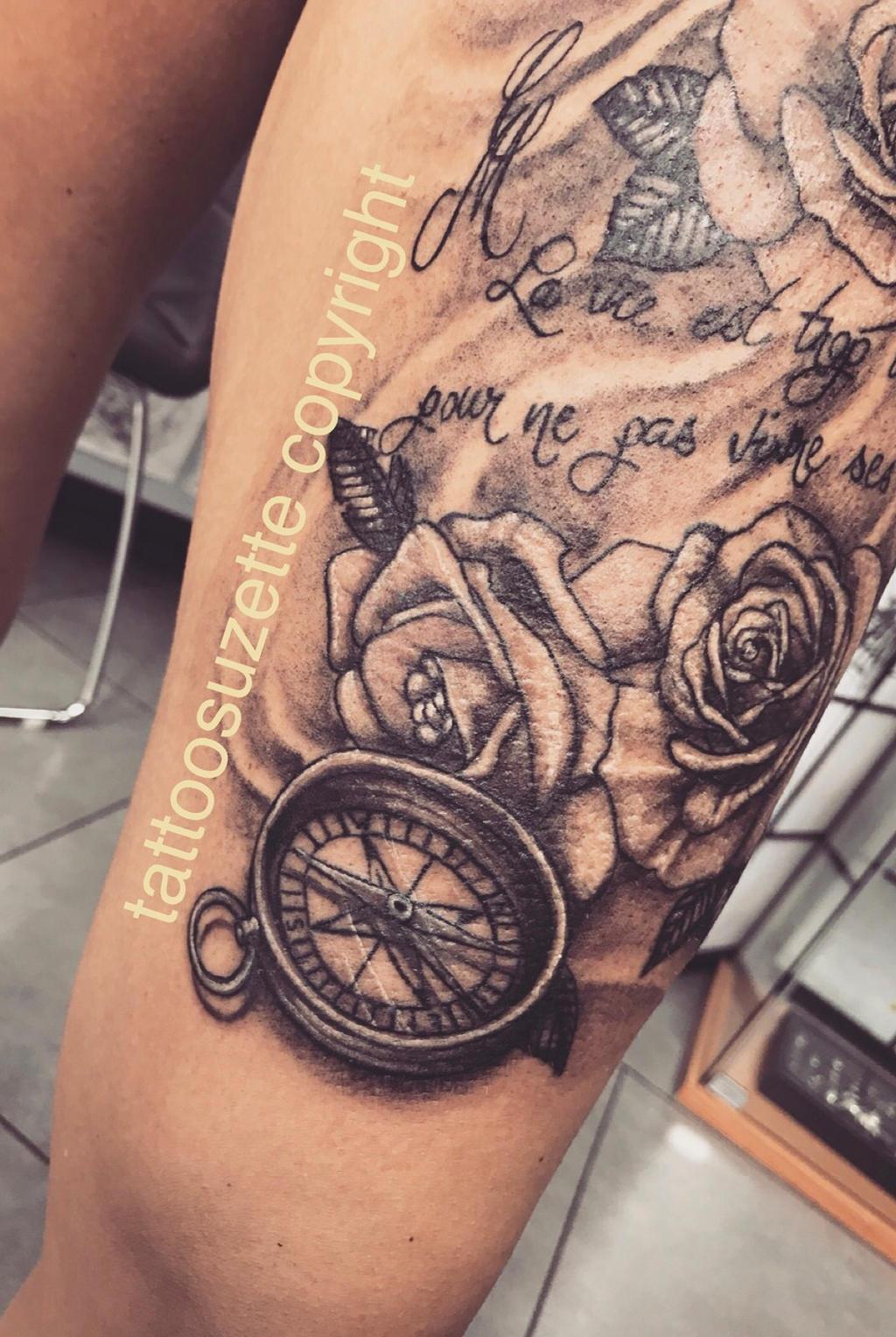 tatouage boussole rose. Black Bedroom Furniture Sets. Home Design Ideas