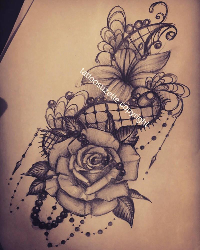 Tatouage Dentelle Rose By Tattoosuzette On Deviantart