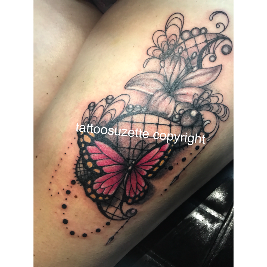 tatouage dentelle papillon by tattoosuzette on deviantart. Black Bedroom Furniture Sets. Home Design Ideas