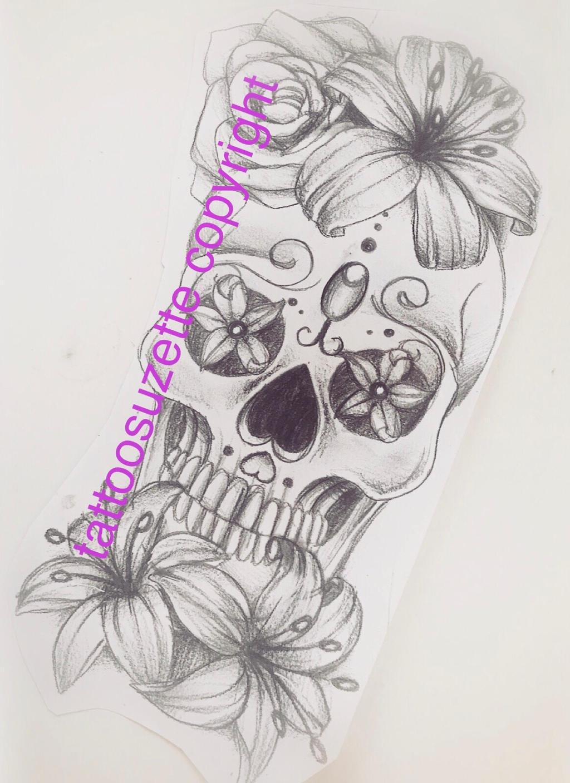 Tete de mort mexicaine tatouage by tattoosuzette on deviantart - Tatouage tete de mort mexicaine ...