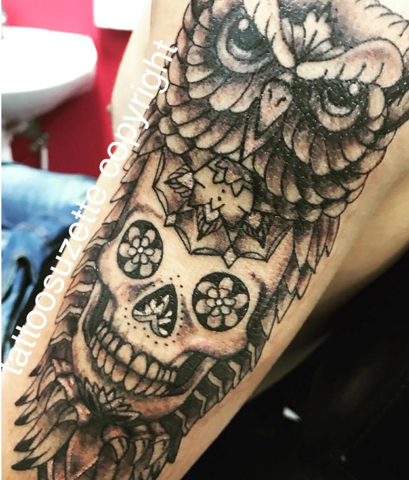 74e57a6bd owl skull tattoo by tattoosuzette on DeviantArt