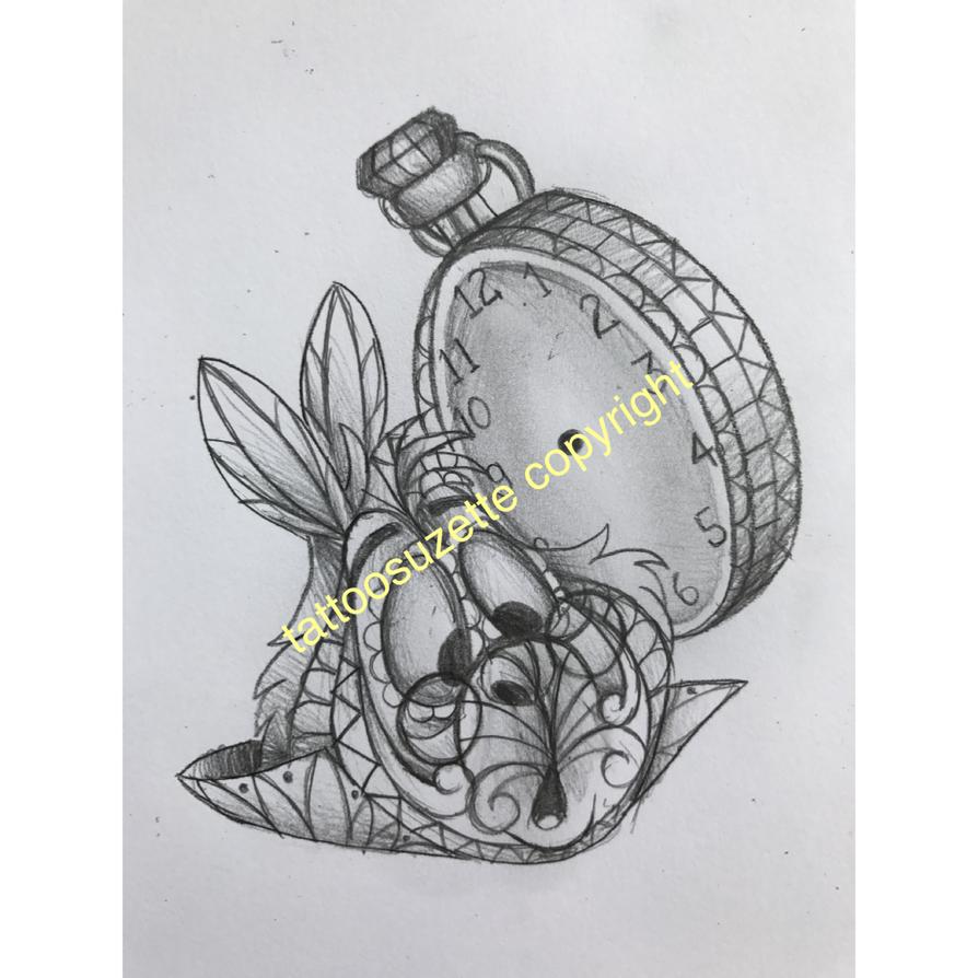 tatouage lapin alice au pays des merveilles by tattoosuzette
