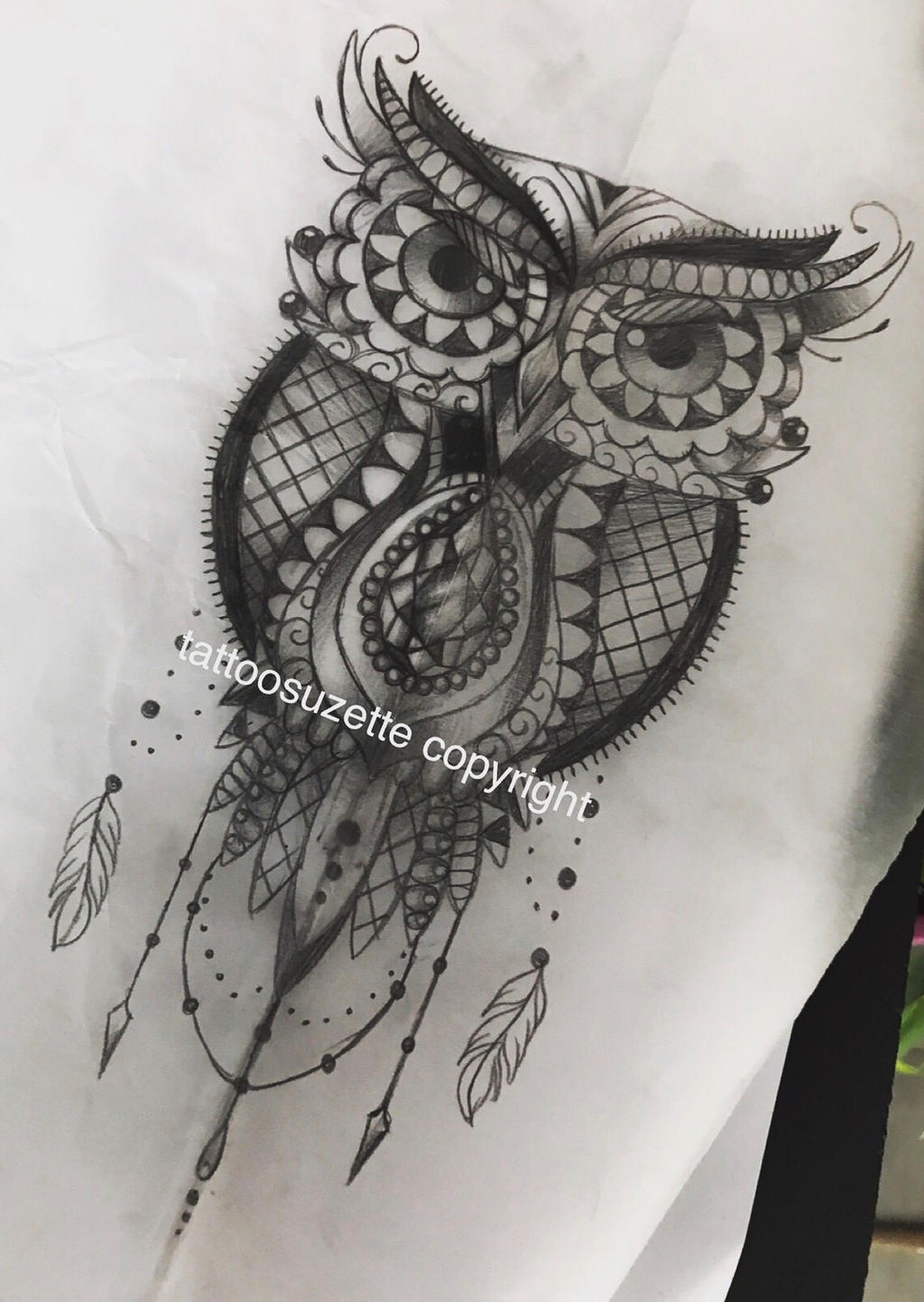 tatouage hibou dentelle by tattoosuzette on deviantart. Black Bedroom Furniture Sets. Home Design Ideas