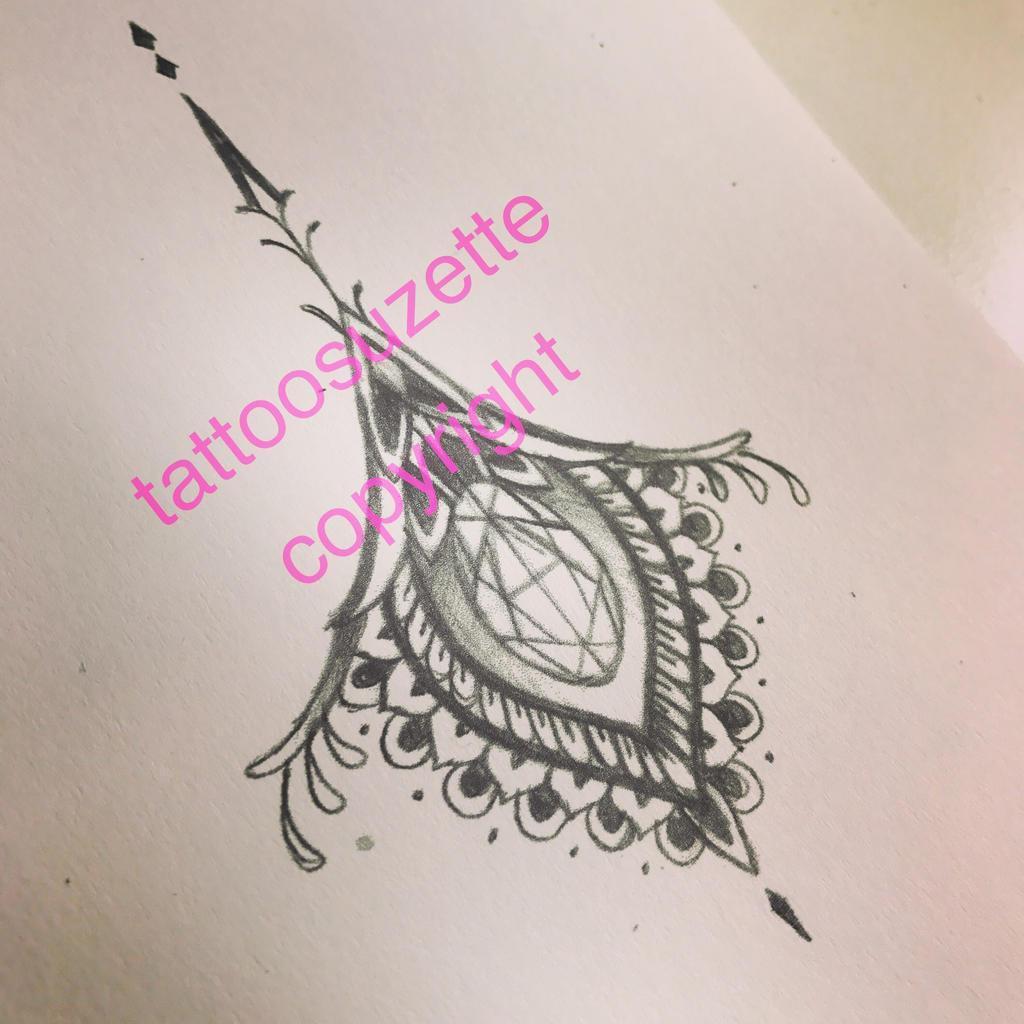 Tatouage mandala diamant by tattoosuzette on deviantart - Tatouage diamant femme ...