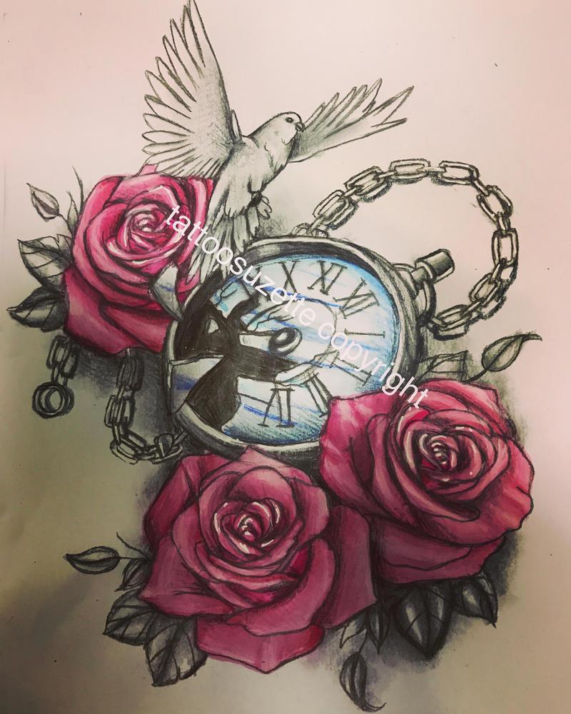 Clock Roses Tattoo Design By Tattoosuzette On DeviantArt