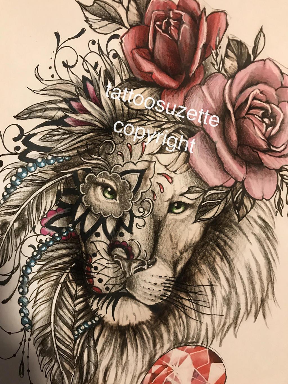 lion tattoo design mandala by tattoosuzette on deviantart. Black Bedroom Furniture Sets. Home Design Ideas