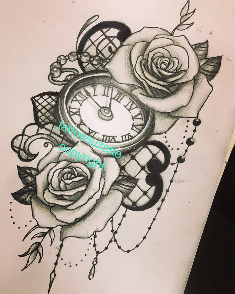 Tatouage Horloge Roses Dentelle By Tattoosuzette On Deviantart