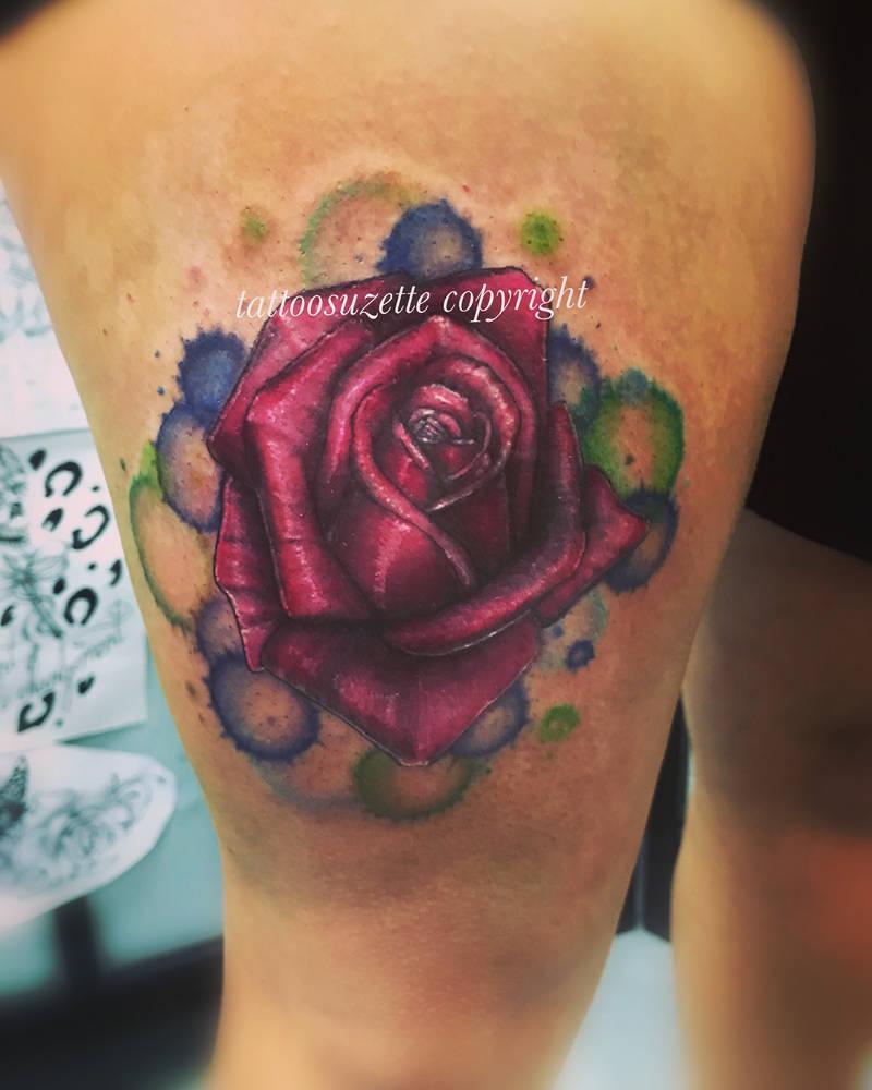 Tatouage Rose Aquarelle By Tattoosuzette On Deviantart